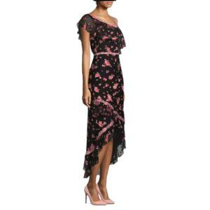 Alice & Olivia Guipure Lace-trimmed Floral-print Silk-blend Chiffon Dress